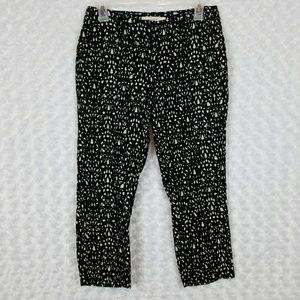 LOFT Size 2P Marisa Crop Pants Black White Linen